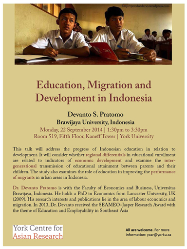 Education, Migration and Development in Indonesia @ Room 519, Fifith Floor, Kaneff Tower | Toronto | Ontario | Canada