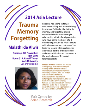 Trauma, Memory, Forgetting <br> 2014 Asia Lecture at York University  @ Room 519, Fifith Floor, Kaneff Tower | Toronto | Ontario | Canada
