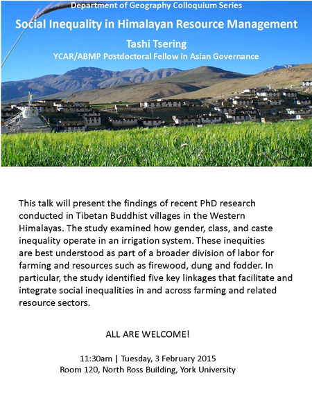 The Operation of Social Inequality in Himalayan Resource Management @ Room 120, North Ross Building | Toronto | Ontario | Canada