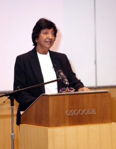 Navi Pillay delivering the 2016 N. Sivalingam Memorial Lecture at Osgood Hall Law School