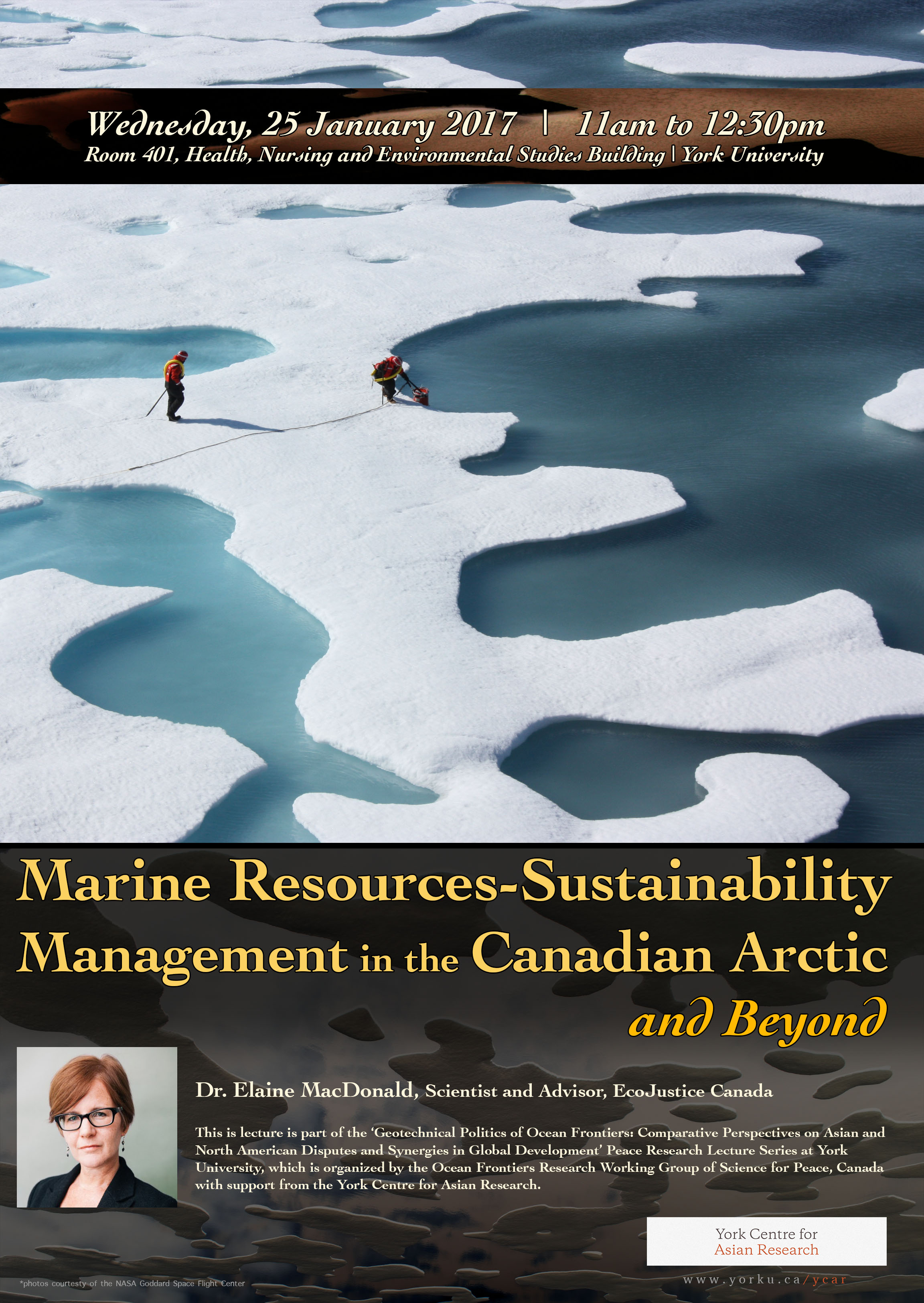 CANCELLED - Marine Resources-Sustainability Management in the Canadian Arctic and Beyond @ Room 401, Health, Nursing and Environmental Studies Building  | Toronto | Ontario | Canada
